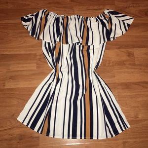 {F21} Striped Off The Shoulder Dress